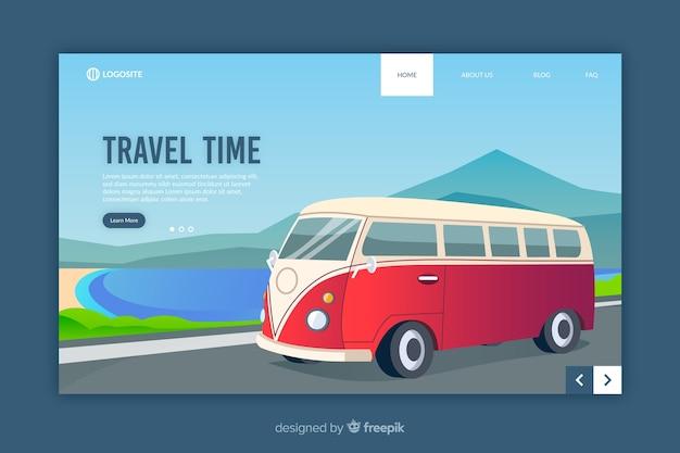 Modello di landing page di viaggio design piatto