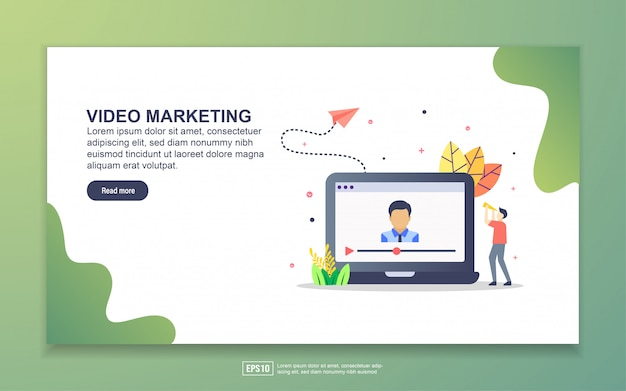Modello di landing page di video marketing. concetto di design moderno piatto di design della pagina web per sito web e sito web mobile.