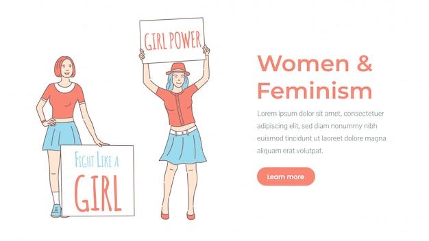 Modello di landing page donna e femminismo. potere femminile, combatti come una ragazza.