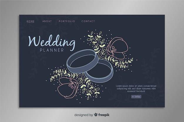 Modello di landing page floreale di nozze