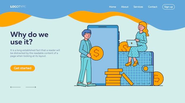 Modello di landing page online per lo shopping sul mercato e-commerce