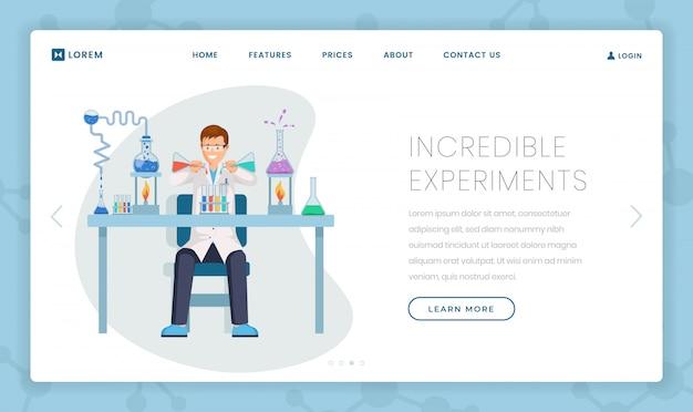 Modello di landing page per esperimenti incredibili