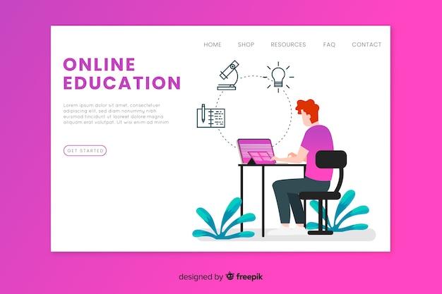Modello di landing page per l'istruzione online
