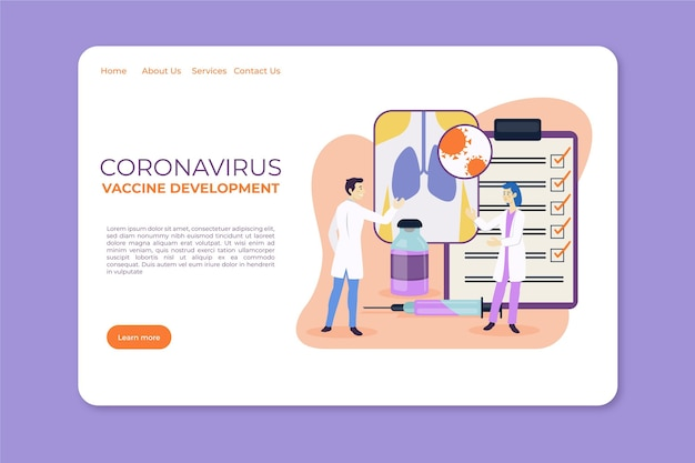 Modello di landing page per lo sviluppo del vaccino contro il coronavirus