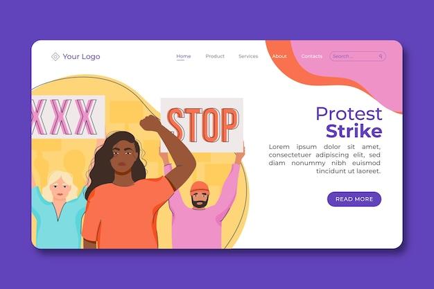 Modello di landing page per sciopero di protesta