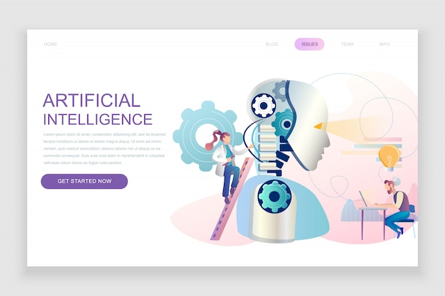 Modello di landing page piatto di intelligenza artificiale