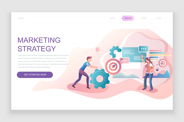 Modello di landing page piatto di strategia di marketing