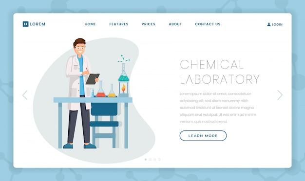 Modello di landing page piatto laboratorio chimico