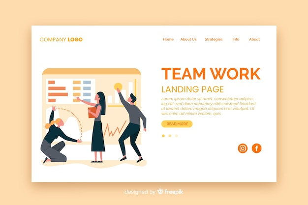 Modello di landing page piatto lavoro di squadra