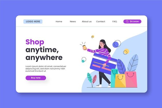 Modello di landing page shopping online design piatto