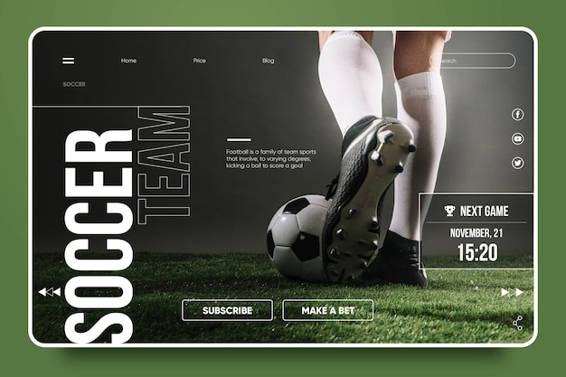 Modello di landing page sportiva
