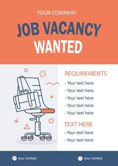 Modello di lavoro vacante desiderato sedia linea