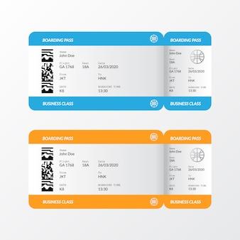 Modello di layout biglietto aereo carta d'imbarco per viaggi, vacanze, vacanze.