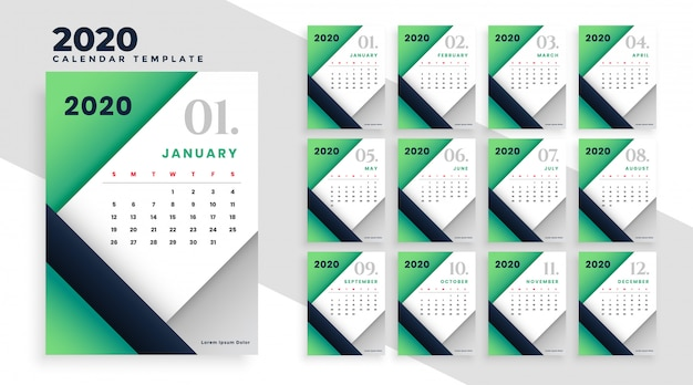 Modello di layout del calendario geometrico moderno 2020