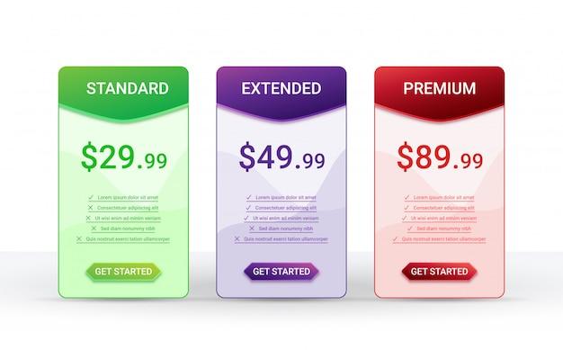 Modello di layout della tabella di confronto prezzi per tre prodotti,