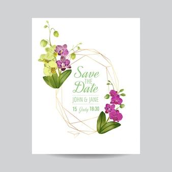 Modello di layout invito di nozze con fiori di orchidea.
