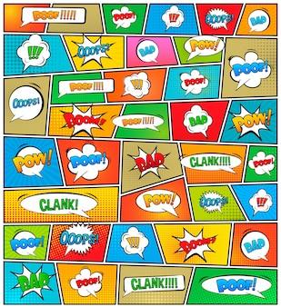Modello di layout vuoto stile pop art fumetti.