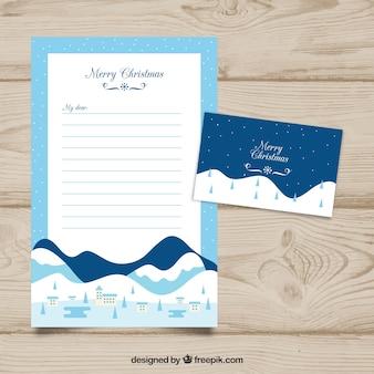 Modello di lettera di natale con paesaggio di montagna