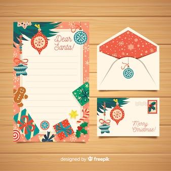 Modello di lettera e busta di natale creativo
