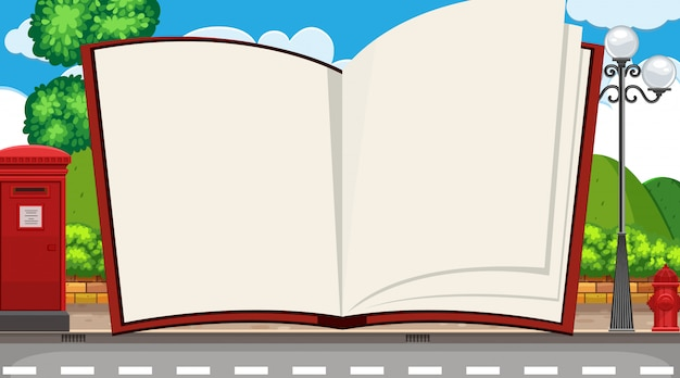 Modello di libro con strada sullo sfondo