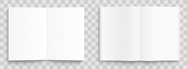 Modello di libro, rivista e taccuino aperto vuoto con ombre morbide su sfondo trasparente. vista frontale.