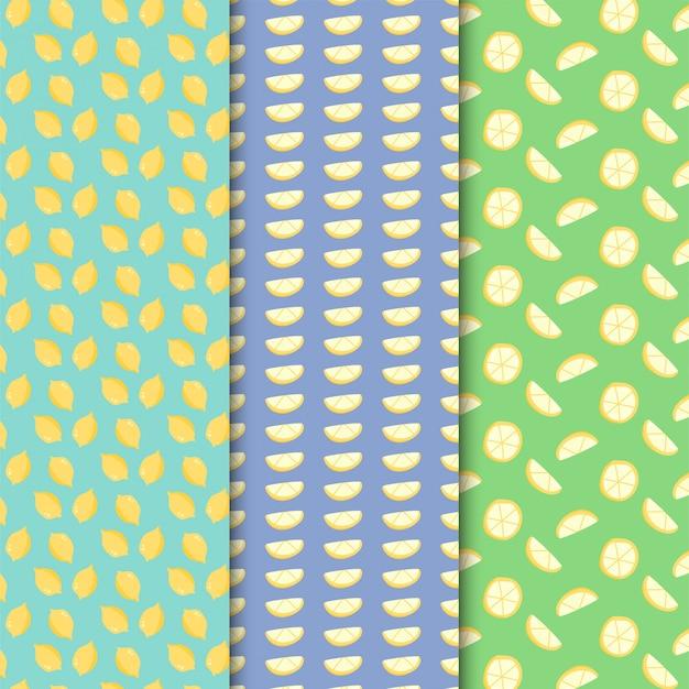 Modello di limone impostato su design colorato