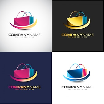 Modello di logo 3d shopping astratto per il tuo marchio aziendale