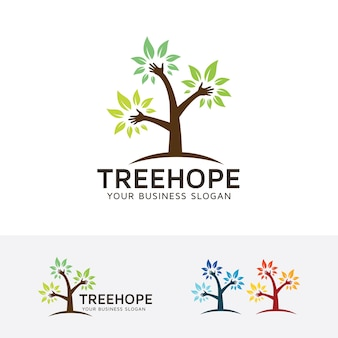 Modello di logo albero speranza