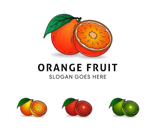 Modello di logo arancione intero e fette di arance