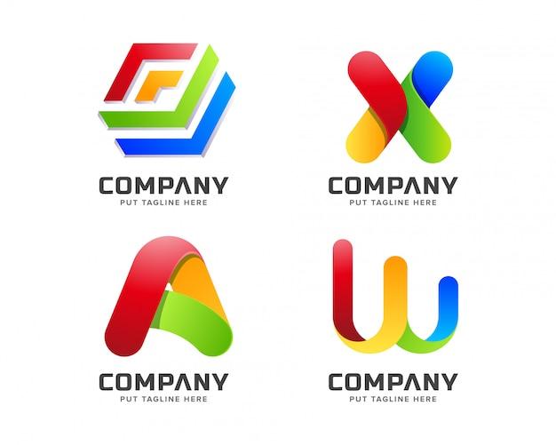 Modello di logo arcobaleno colorato business sfumato con forma astratta
