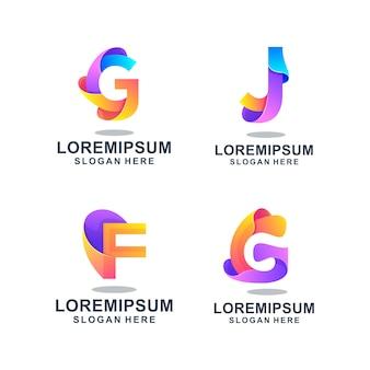Modello di logo astratto colorato lettermark