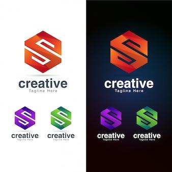 Modello di logo astratto lettera esagonale