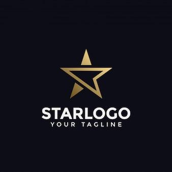 Modello di logo astratto lusso stella d'oro
