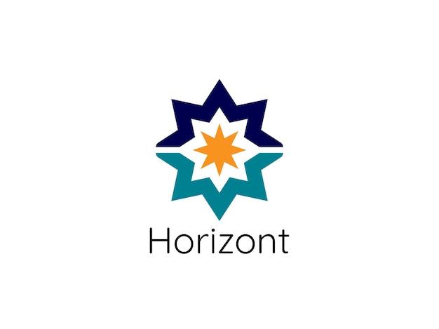 Modello di logo astratto stella sole orizzonte