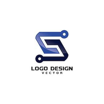 Modello di logo aziendale astratto moderno simbolo di s