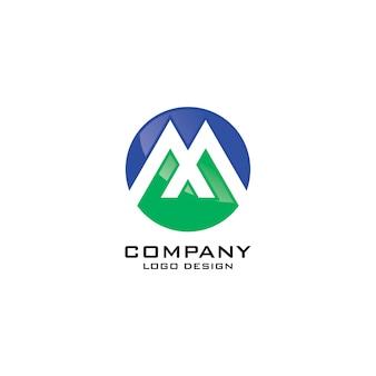 Modello di logo aziendale astratto simbolo m rotondo