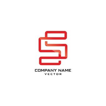 Modello di logo aziendale line art s symbol