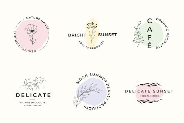 Modello di logo aziendale naturale impostato in stile minimal