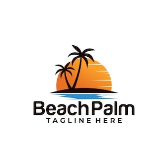 Modello di logo beach palm