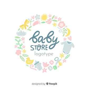 Modello di logo bella baby shop con stile moderno