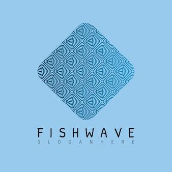 Modello di logo blu onda arrotondata