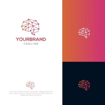 Modello di logo brain tech