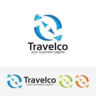 Modello di logo bussola di viaggio