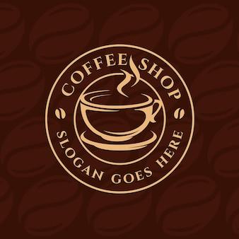 Modello di logo caffè, coffee shop