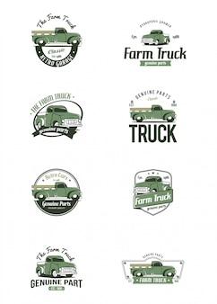 Modello di logo camion retrò. logo di camion di fattoria