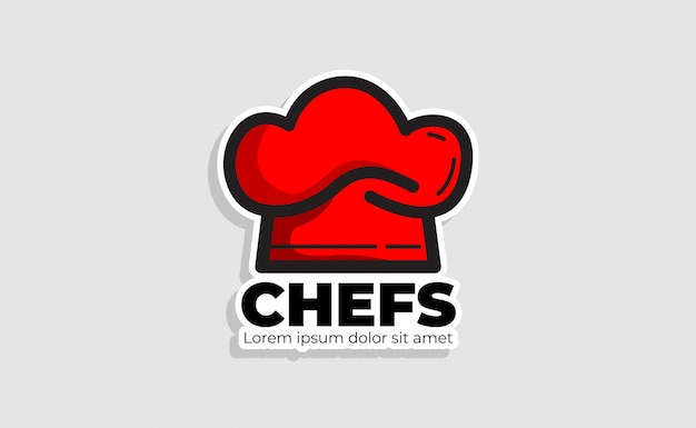 Modello di logo cappello cuoco. ristorante logo design ispirazione. logo di panetteria
