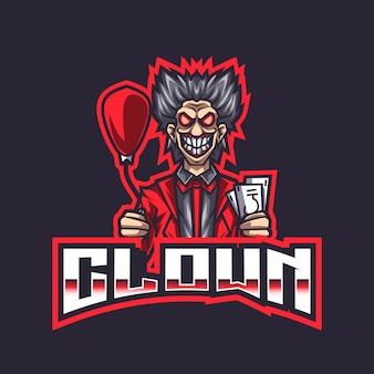 Modello di logo clown esport
