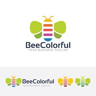 Modello di logo colorato ape