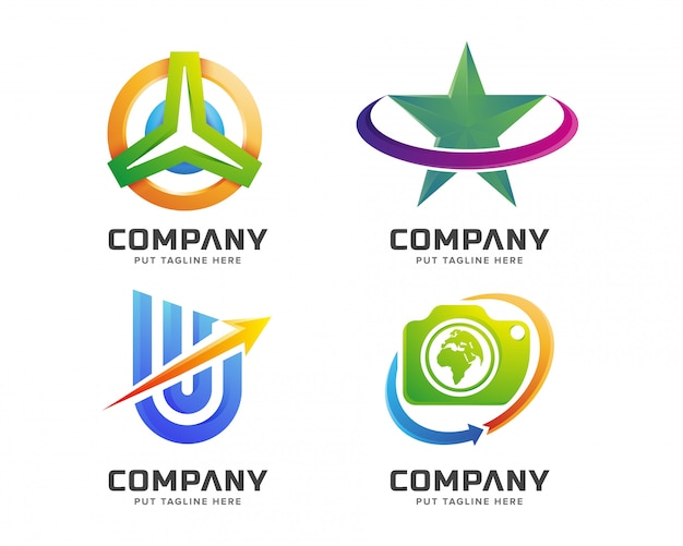 Modello di logo colorato business creativo