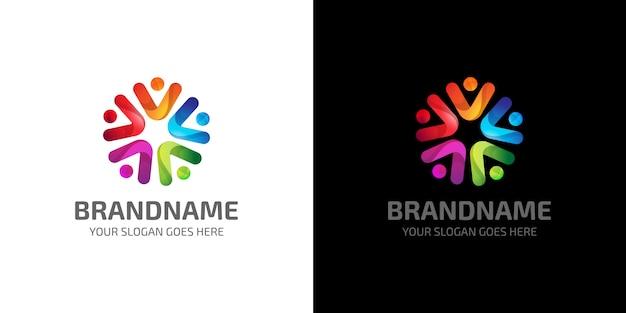 Modello di logo colorato di persone